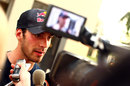 Jean-Eric Vergne speaks to the media after topping the times on day one