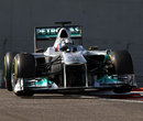 Sam Bird attacks the kerbs in the Mercedes on the second day of testing