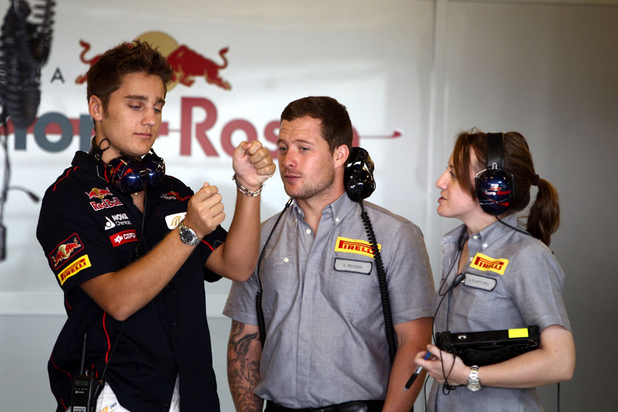 Stefano Coletti gives some feedback to Pirelli engineers