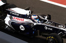 Valtteri Bottas exits the pits in the Williams