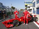 Italian F3 drivers Michael Lewis and Sergio Campana ahead of their test in a 2009-spec Ferrari