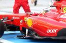 Jules Bianchi pulls up outside the Ferrari garage