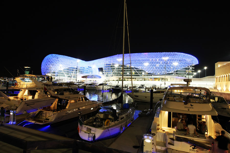 The Yas Hotel at night