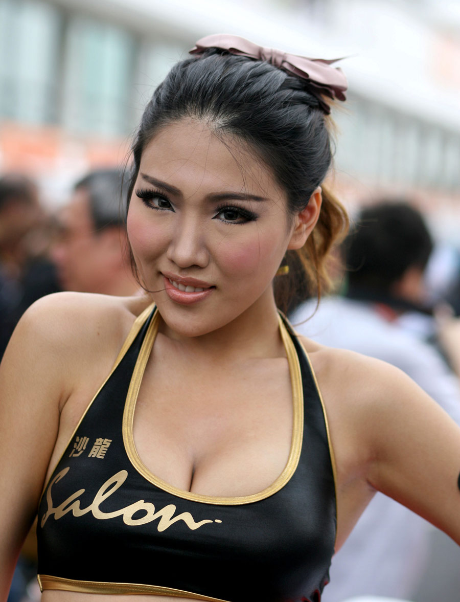 Grid girl at the Formula 3 Macau Grand Prix