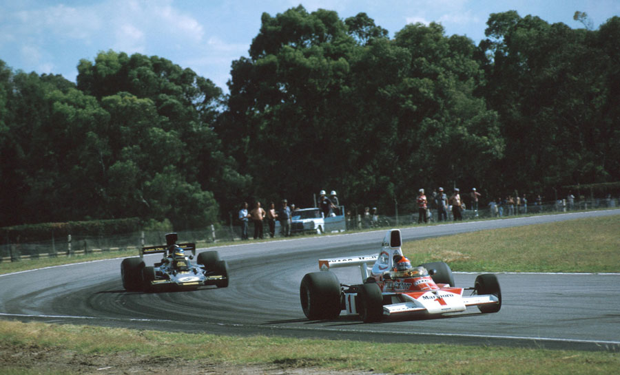 Emerson Fittipaldi leads Ronnie Peterson on his way to victory