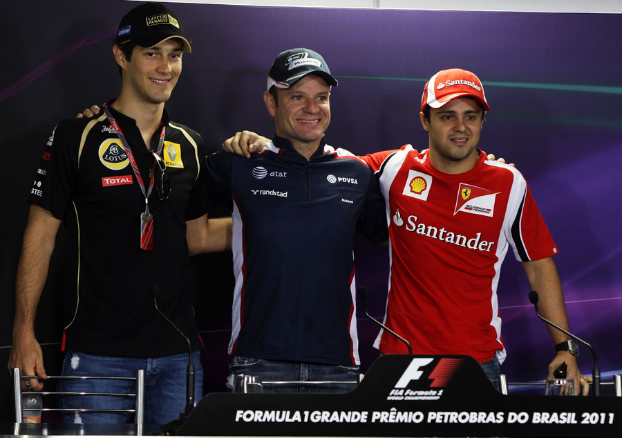 The Brazilian drivers pose ahead of the driver press conference