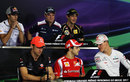 Drivers wait for the press conference to start