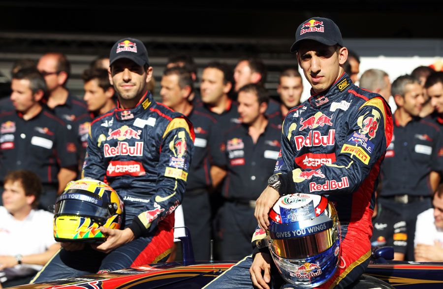 Sebastien Buemi and Jaime Alguersuari pose for an end of season photo