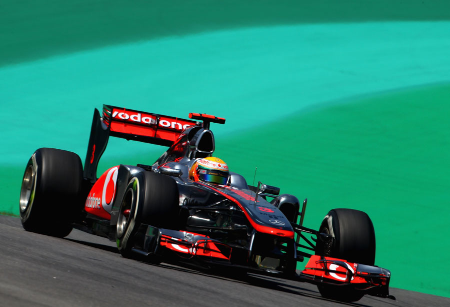 Lewis Hamilton on track in the McLaren