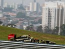 Bruno Senna in action with Sao Paulo as a backdrop behind him