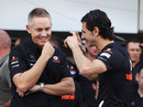 Martin Whitmarsh and Pedro de la Rosa share a joke in the pit lane