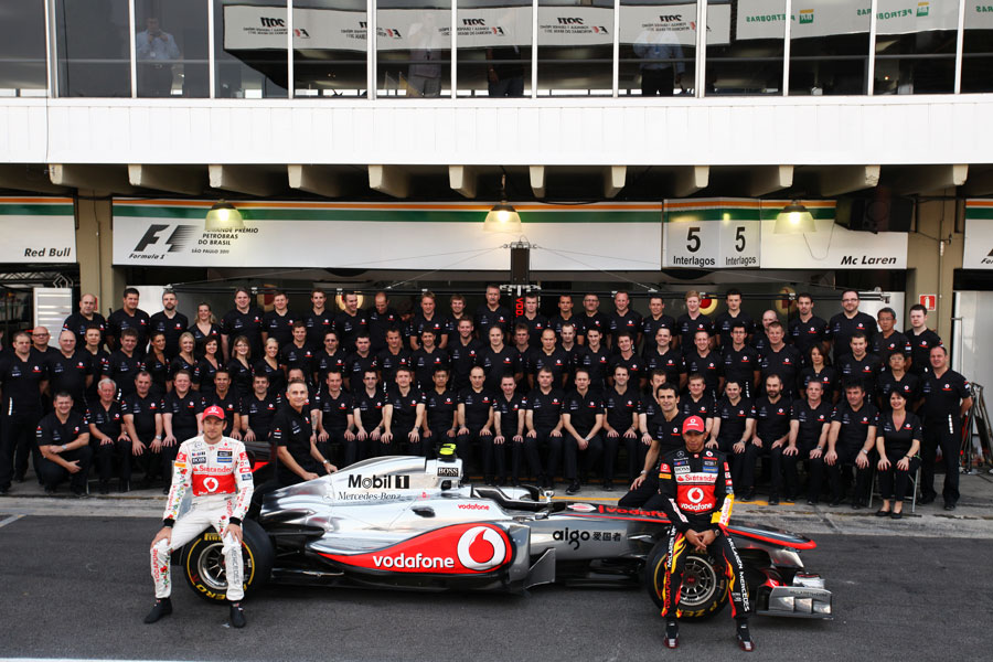 The McLaren team poses for an end of season photograph