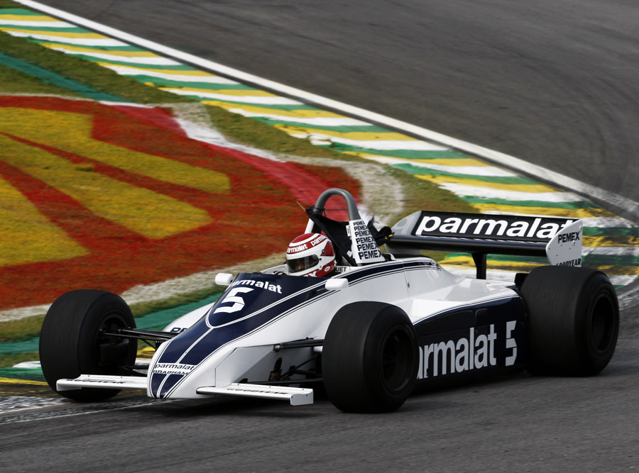 Nelson Piquet drives his Brabham championship-winning 1981 Brabham BT49C on Sunday morning