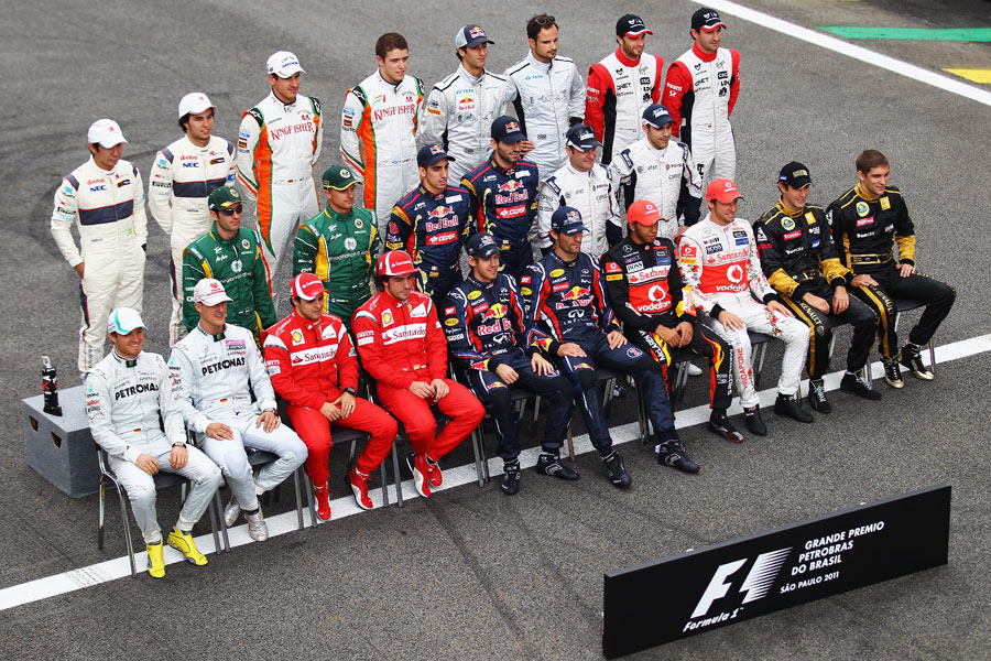 Drivers pose for an end-of-season photograph