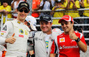 Brazilian drivers Bruno Senna, Rubens Barrichello and Felipe Massa on the drivers' parade