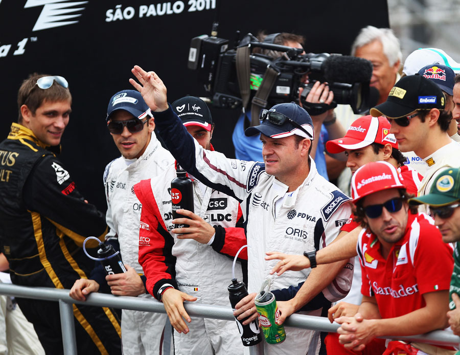 An emotional Rubens Barrichello on the drivers' parade