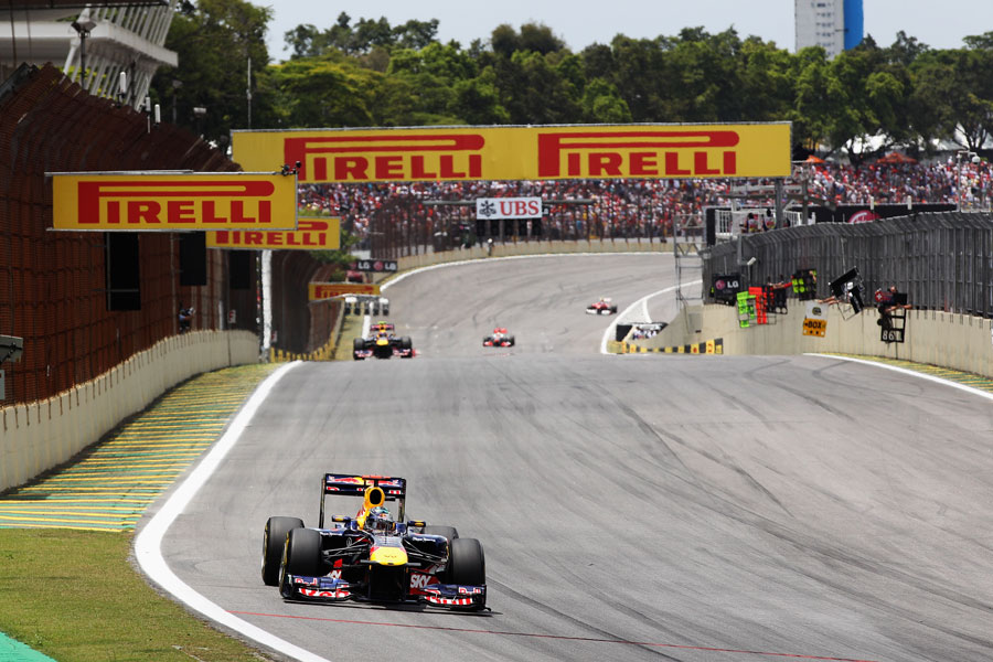 Sebastian Vettel leading the race before his gearbox problem