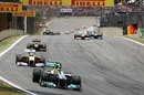 Nico Rosberg holds off Adrian Sutil into turn one