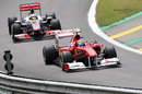 Felipe Massa leads Lewis Hamilton on track
