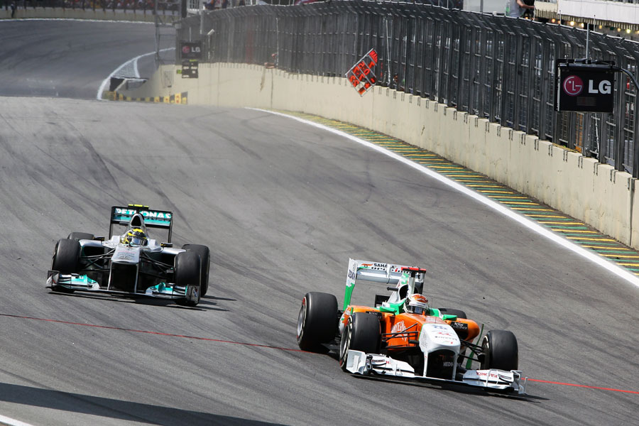 Adrian Sutil passes Nico Rosberg for sixth place
