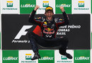 Mark Webber celebrates his victory in his now customary style