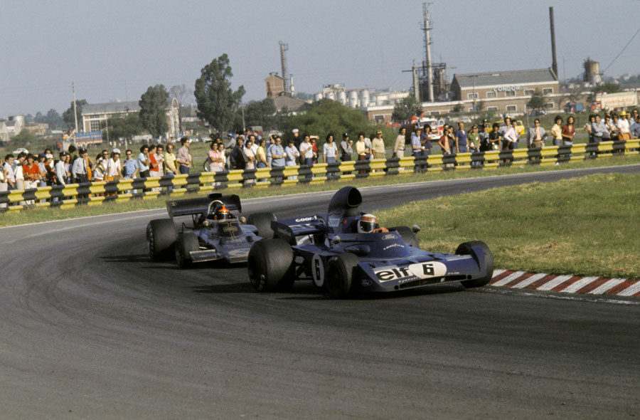 Jackie Stewart holds off Emerson Fittipaldi