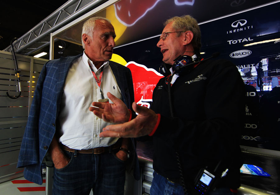 Red Bull advisor Helmut Marko talks to team owner Dietrich Mateschitz in the  garage