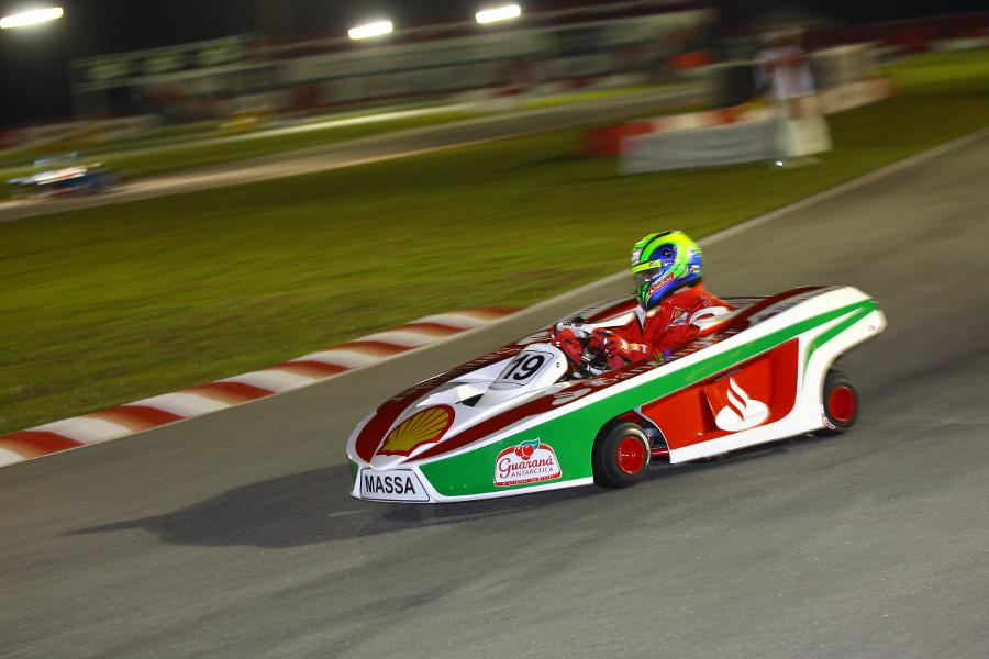 Felipe Massa on track at his charity karting event