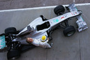 An overhead shot of Nico Rosberg with the new Mercedes