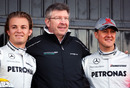 Team principal Ross Brawn with his two drivers