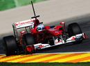 Fernando Alonso attacks the circuit in his Ferrari