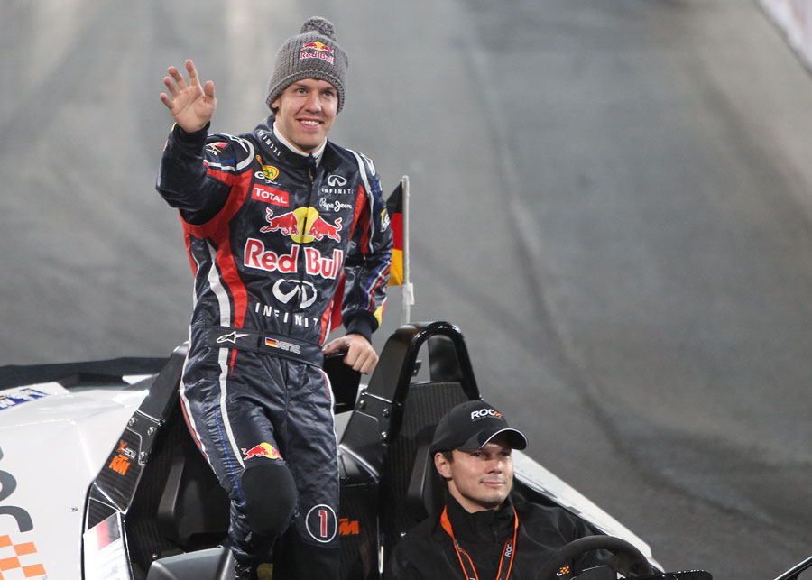 Sebastian Vettel salutes the crowd before the individual race