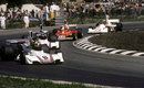 Carlos Pace leads Carlos Reutemann, Niki Lauda and James Hunt