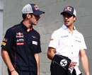 Daniel Ricciardo chats to Jean-Eric Vergne in the paddock