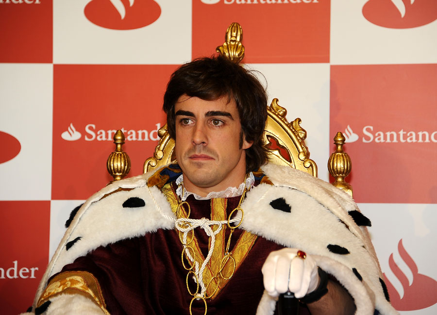 Fernando Alonso ponders what he wants for Christmas at a Santander event