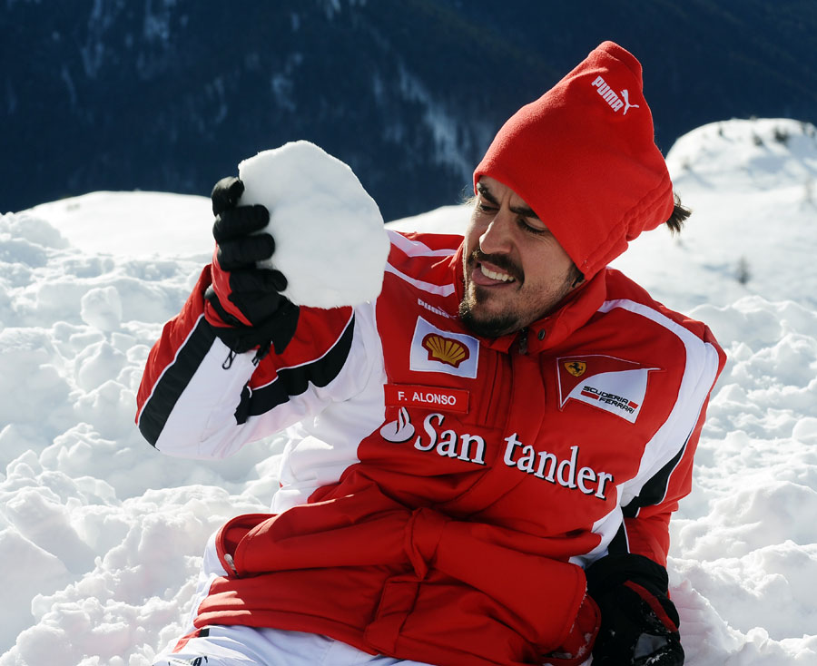 Fernando Alonso in the snow at Ferrari's media event Wrooom