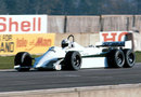 Alan Jones tests the six-wheeled, four-wheel drive Williams FW08 during the close season