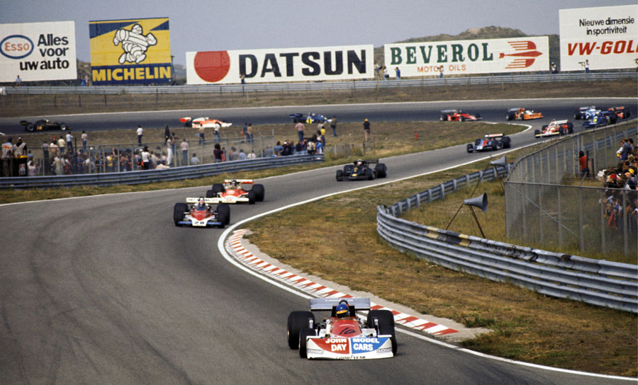 Ronnie Peterson leads John Watson and James Hunt early in the race