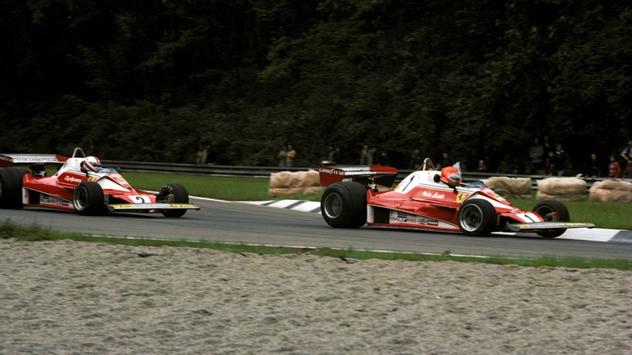 Niki Lauda leads Clay Regazzoni after making a heroic return to Formula One following his fiery near-fatal accident at the Nurburgring six weeks earlier