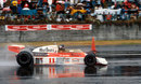 James Hunt on his way to third place and the world championship in terrible conditions