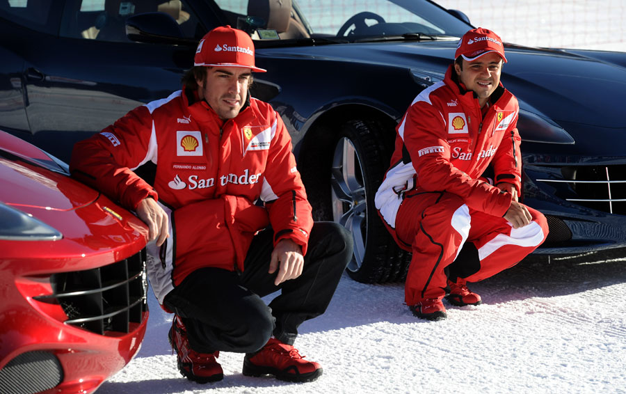 Fernando Alonso and Felipe Massa pose for a photograph at Ferrari's annual media event Wrooom