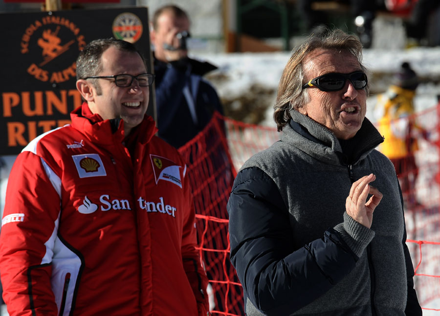 Stefano Domenicali and Luca di Montezemolo enjoying themselves on the slopes during Ferrari's annual media event Wrooom