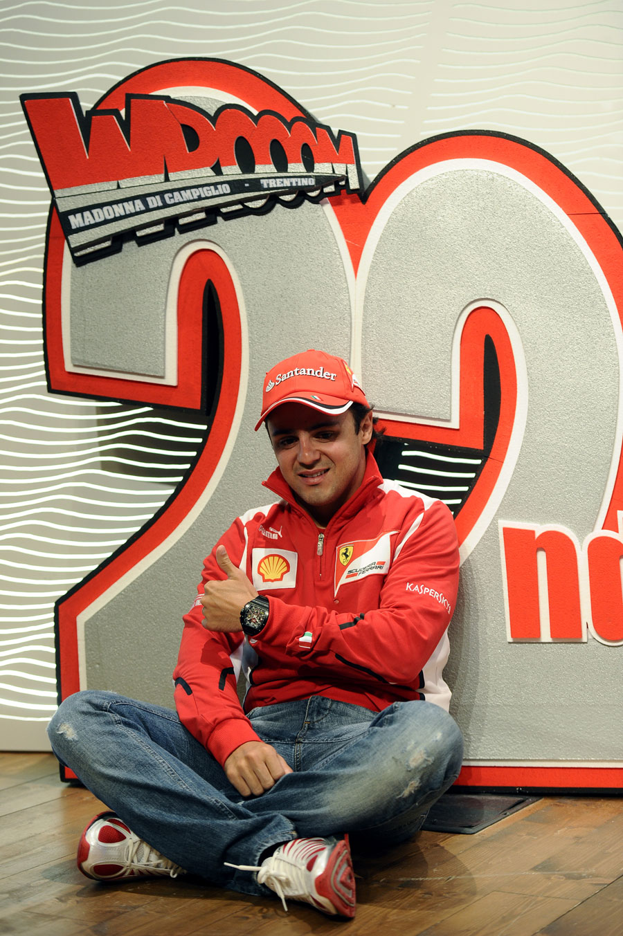 Felipe Massa poses for a photo during a press conference at Ferrari's annual media event Wrooom