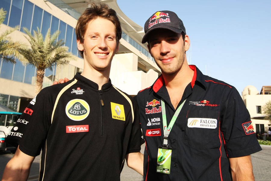 Romain Grosjean and Jean-Eric Vergne in the paddock on Thursday