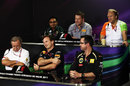 Riad Asmat, Paul Hembery, Robert Fearnley, Jean-Francois Caubert, Christian Horner and Eric Boullier in the press conference