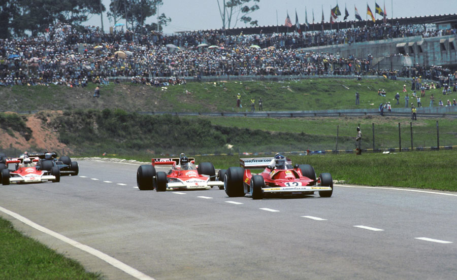 Carlos Reutemann leads James Hunt and Jochen Mass on the way to victory