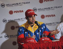 Pastor Maldonado speaks during a press conference in Caracas