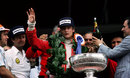A subdued Niki Lauda on the podium after being informed of the tragic death of Tom Pryce