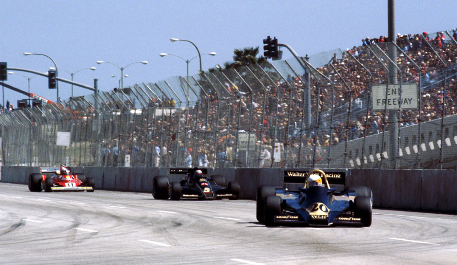 Jody Scheckter leads Mario Andretti and Niki Lauda