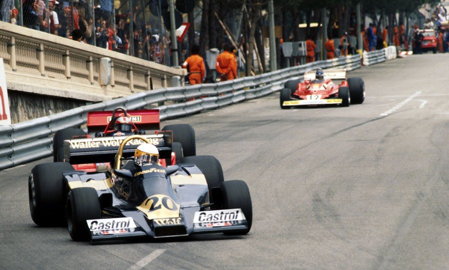 Jody Scheckter comes under pressure from John Watson early in the race
